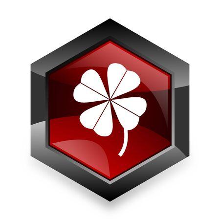 four fourleaf: four-leaf clover red hexagon 3d modern design icon on white background Stock Photo