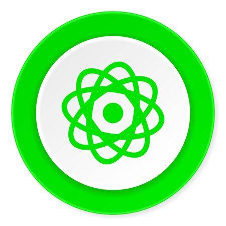 gamma radiation: atom green fresh circle 3d modern flat design icon on white background