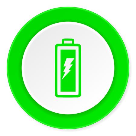 circle icon: battery green fresh circle 3d modern flat design icon on white background