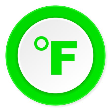 celcius: fahrenheit green fresh circle 3d modern flat design icon on white background