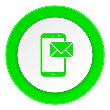 mail green fresh circle 3d modern flat design icon on white background