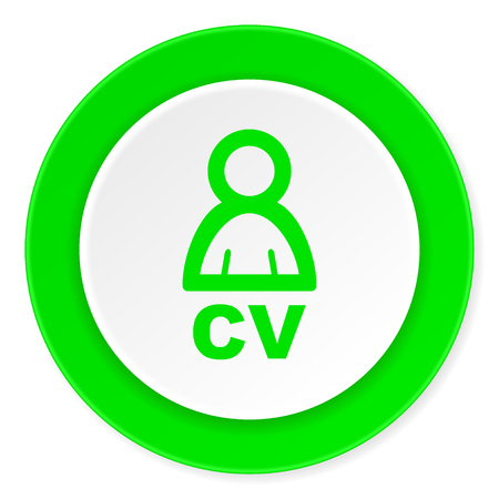 job descriptions: cv green fresh circle 3d modern flat design icon on white background