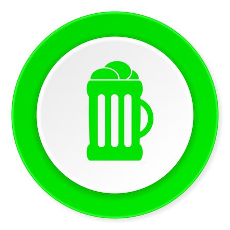 beer green fresh circle 3d modern flat design icon on white background