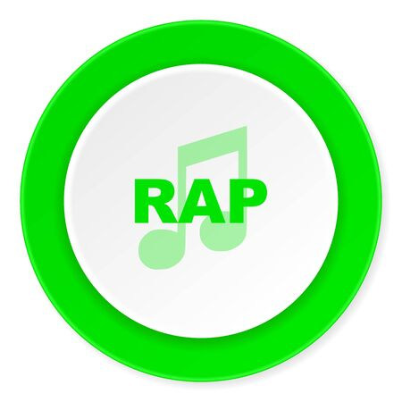 rap music: rap music green fresh circle 3d modern flat design icon on white background