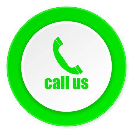 phone call: call us green fresh circle 3d modern flat design icon on white background
