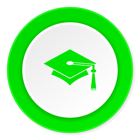 toga: education green fresh circle 3d modern flat design icon on white background