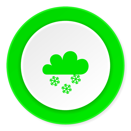 snowing: snowing green fresh circle 3d modern flat design icon on white background