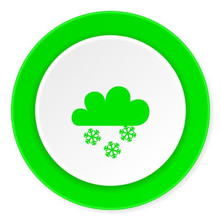 snowing green fresh circle 3d modern flat design icon on white background