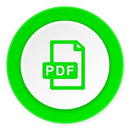 bibliography: pdf file green fresh circle 3d modern flat design icon on white background Stock Photo