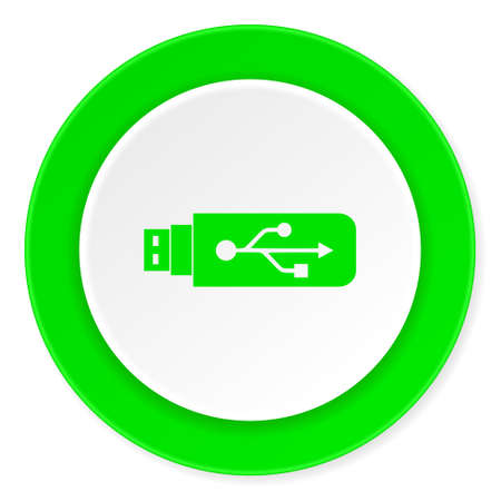 usb pendrive: usb green fresh circle 3d modern flat design icon on white background