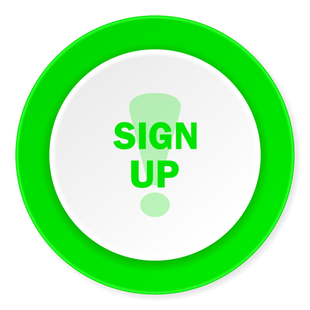 subscribing: sign up green fresh circle 3d modern flat design icon on white background
