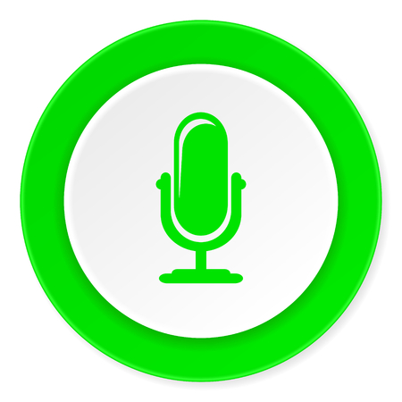 microphone: microphone green fresh circle 3d modern flat design icon on white background