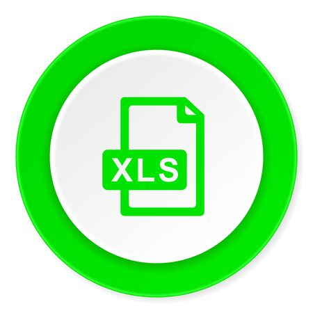 xls: xls file green fresh circle 3d modern flat design icon on white background