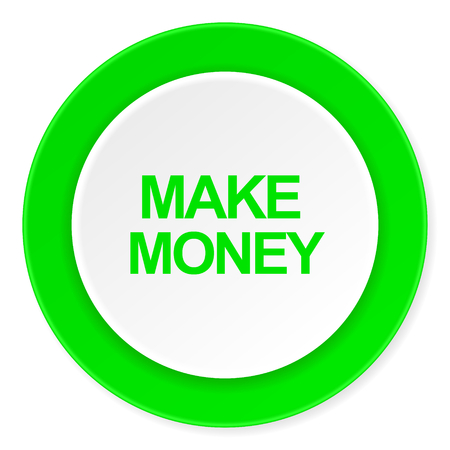make money: make money green fresh circle 3d modern flat design icon on white background Stock Photo