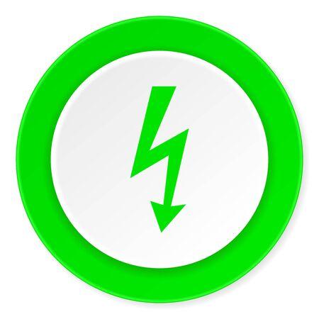 high voltage symbol: bolt green fresh circle 3d modern flat design icon on white background