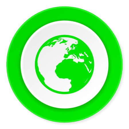 meridian: earth green fresh circle 3d modern flat design icon on white background