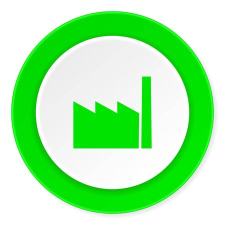 industrial complex: factory green fresh circle 3d modern flat design icon on white background