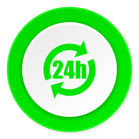 24h: 24h green fresh circle 3d modern flat design icon on white background