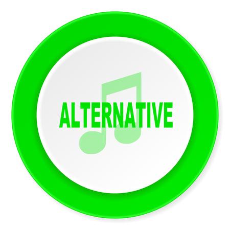 listen live stream: alternative music green fresh circle 3d modern flat design icon on white background Stock Photo