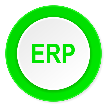 erp: erp green fresh circle 3d modern flat design icon on white background