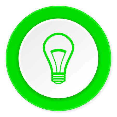 lighting button: bulb green fresh circle 3d modern flat design icon on white background Stock Photo