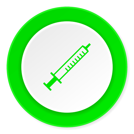 flu shot: medicine green fresh circle 3d modern flat design icon on white background Stock Photo