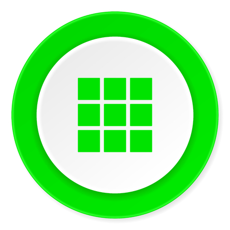 thumbnails: thumbnails grid green fresh circle 3d modern flat design icon on white background