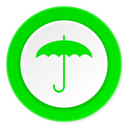 humidity: umbrella green fresh circle 3d modern flat design icon on white background