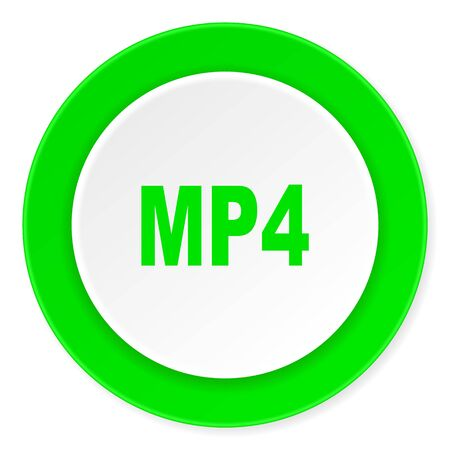 mp4: mp4 green fresh circle 3d modern flat design icon on white background