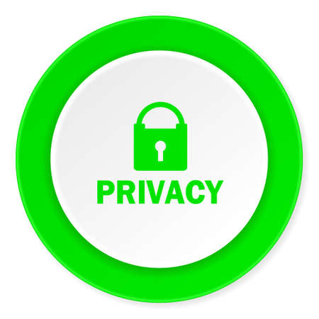 privacy green fresh circle 3d modern flat design icon on white background