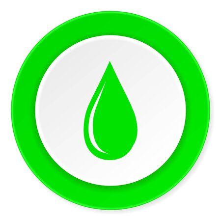 waterdrop: water drop green fresh circle 3d modern flat design icon on white background Stock Photo