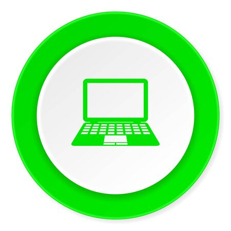 computer green fresh circle 3d modern flat design icon on white background Stock Photo