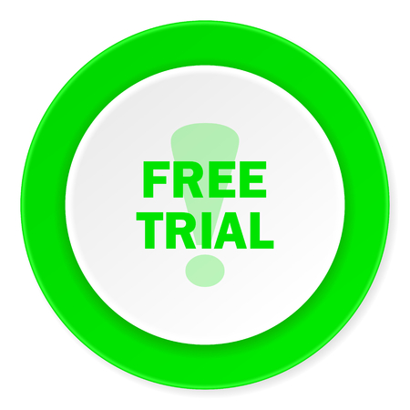 free trial: free trial green fresh circle 3d modern flat design icon on white background