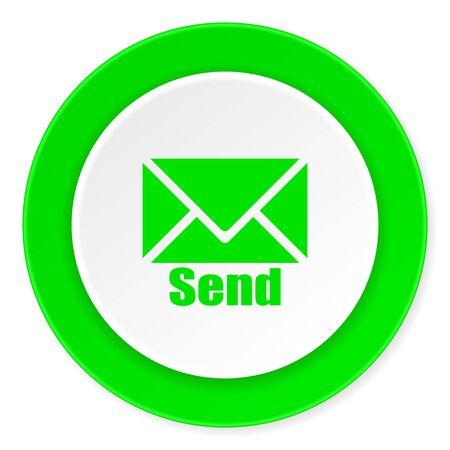 send green fresh circle 3d modern flat design icon on white background
