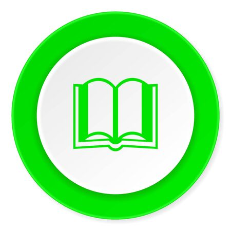 guestbook: book green fresh circle 3d modern flat design icon on white background Stock Photo
