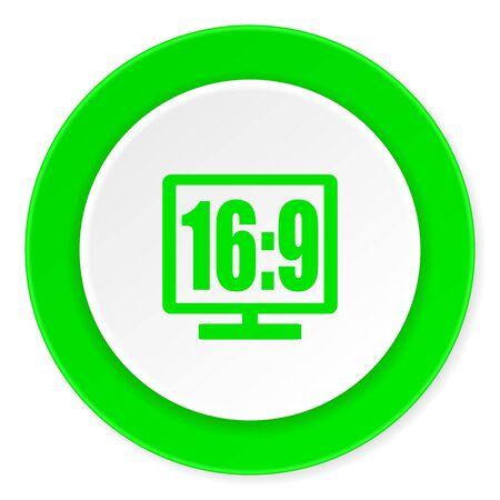 16 9 display: 16 9 display green fresh circle 3d modern flat design icon on white background