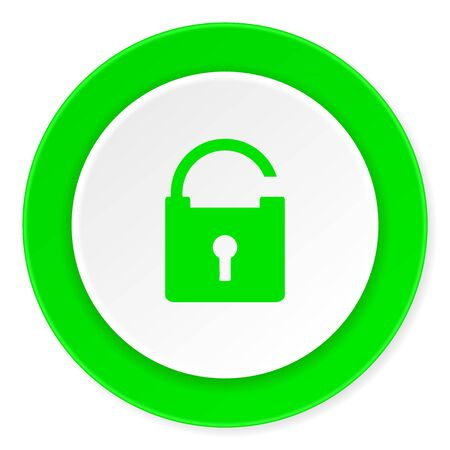 trusty: padlock green fresh circle 3d modern flat design icon on white background Stock Photo