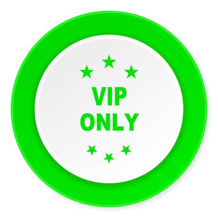 vip symbol: vip only green fresh circle 3d modern flat design icon on white background