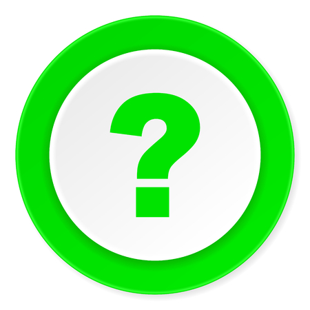 questioning: question mark green fresh circle 3d modern flat design icon on white background