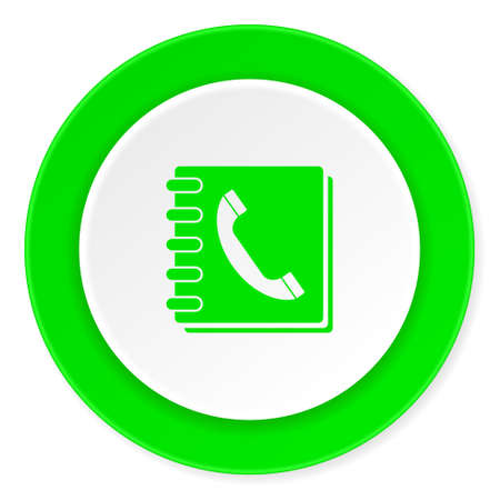 phonebook green fresh circle 3d modern flat design icon on white background Stock Photo