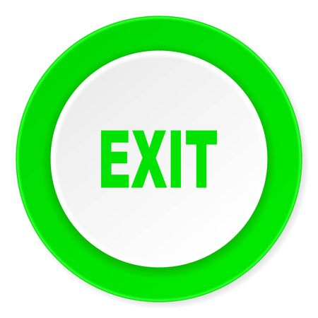 green exit emergency sign: exit green fresh circle 3d modern flat design icon on white background