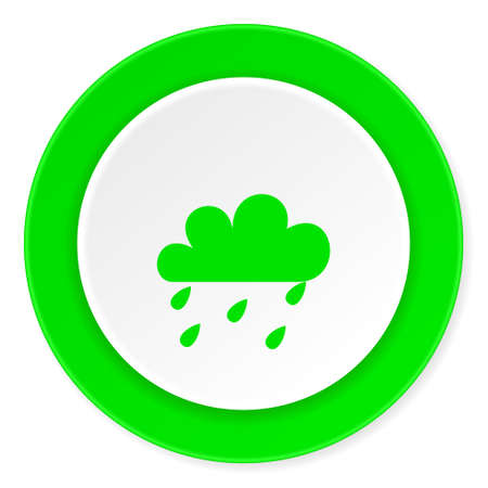 rain green fresh circle 3d modern flat design icon on white background
