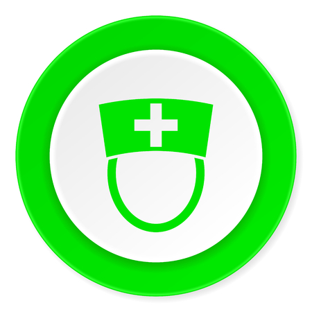 3d nurse: nurse green fresh circle 3d modern flat design icon on white background Stock Photo