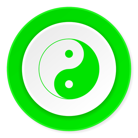 ying and yang: ying yang green fresh circle 3d modern flat design icon on white background Stock Photo