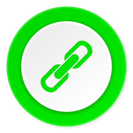 la union hace la fuerza: vincular c�rculo verde fresca 3d icono moderno dise�o plano sobre fondo blanco Foto de archivo
