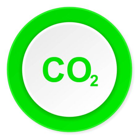 carbon dioxide: carbon dioxide green fresh circle 3d modern flat design icon on white background