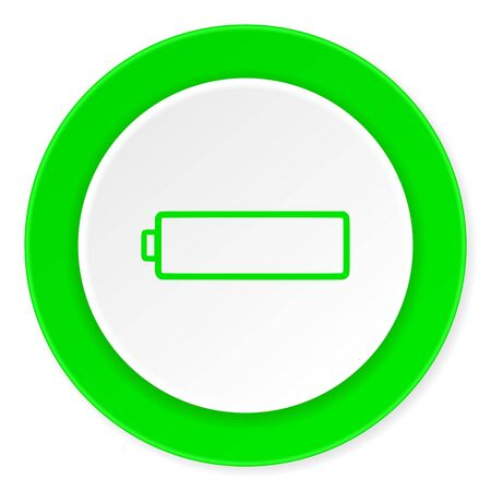 accuse: battery green fresh circle 3d modern flat design icon on white background