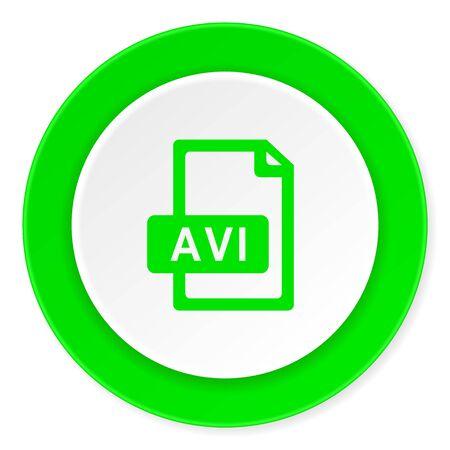 avi: avi file green fresh circle 3d modern flat design icon on white background Stock Photo