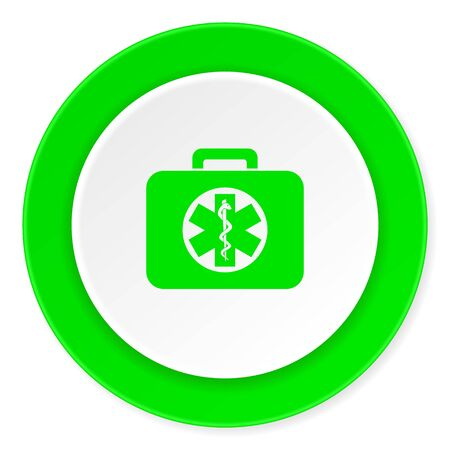 rescue circle: rescue kit green fresh circle 3d modern flat design icon on white background