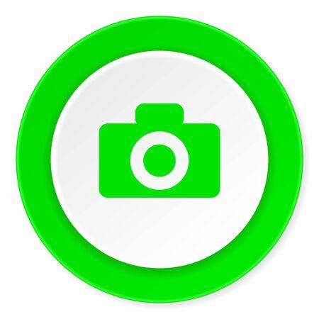 photo slide: camera green fresh circle 3d modern flat design icon on white background